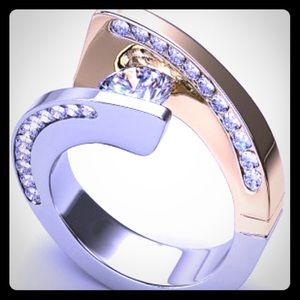 Tension By-Pass Swirl 18k Gold Plated diamond ring